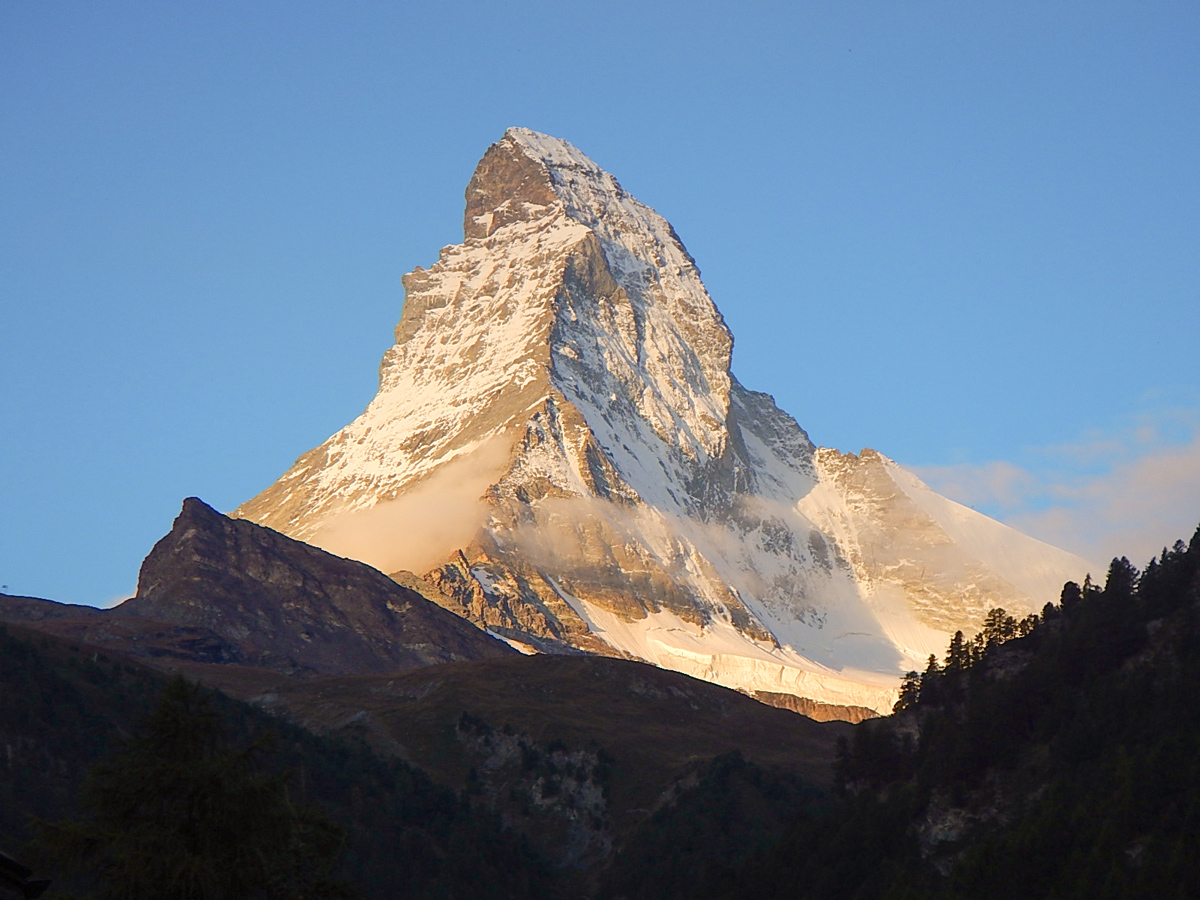 View of Matterhorn on self-guided Haute Route to Zermatt in Switzerland