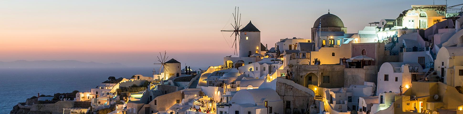 Panoramic Santorini view on Greek Islands Multisport tour