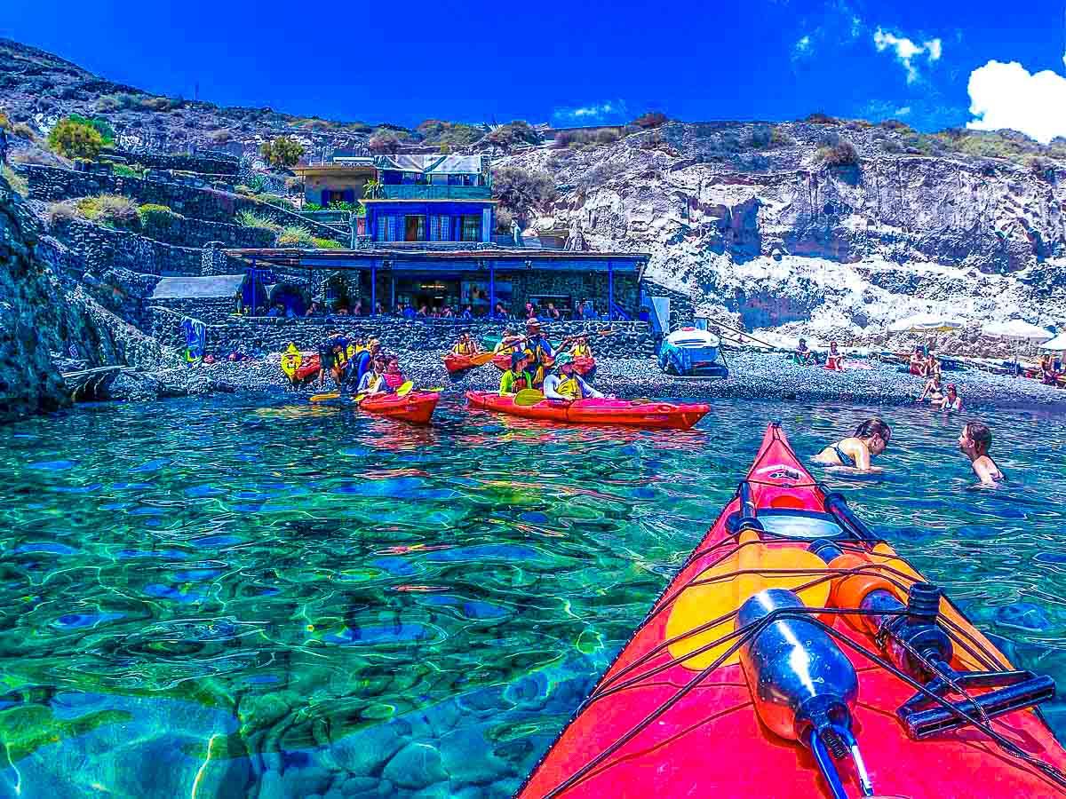 Sea Kayaking with beautiful views on Greek Islands Multisport tour in Paros, Naxos and Santorini