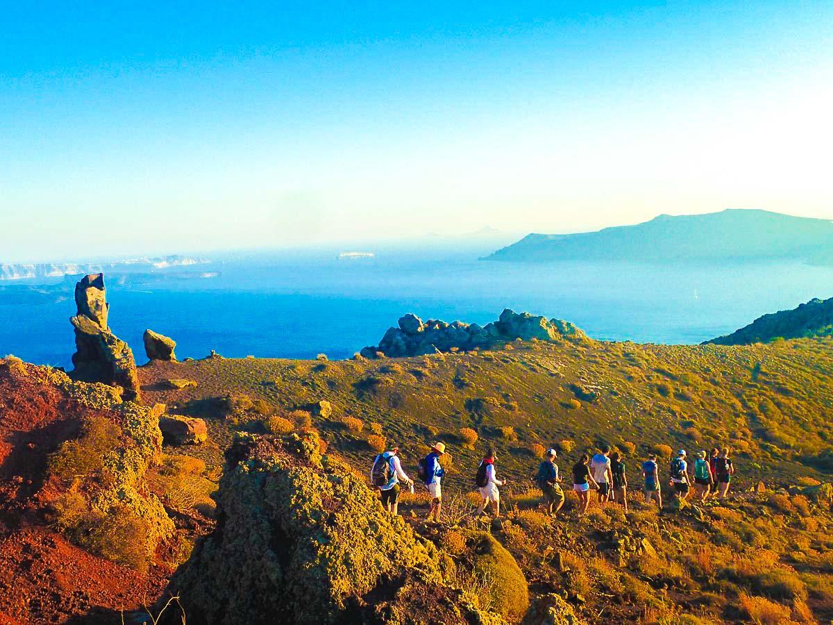 Hikers trekking on Greek Islands Multisport tour in Paros, Naxos and Santorini