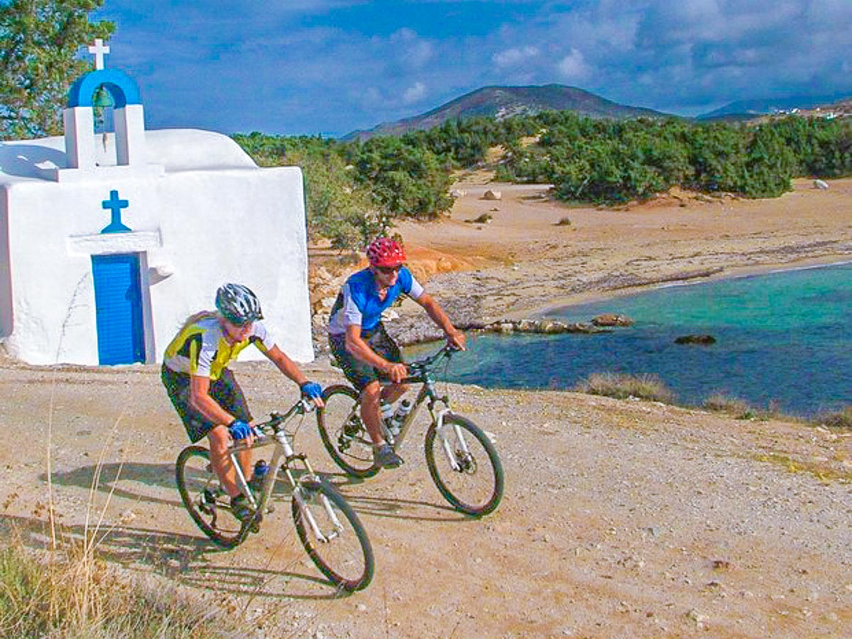 Two cyclists on Greek Islands Multisport tour in Paros, Naxos and Santorini