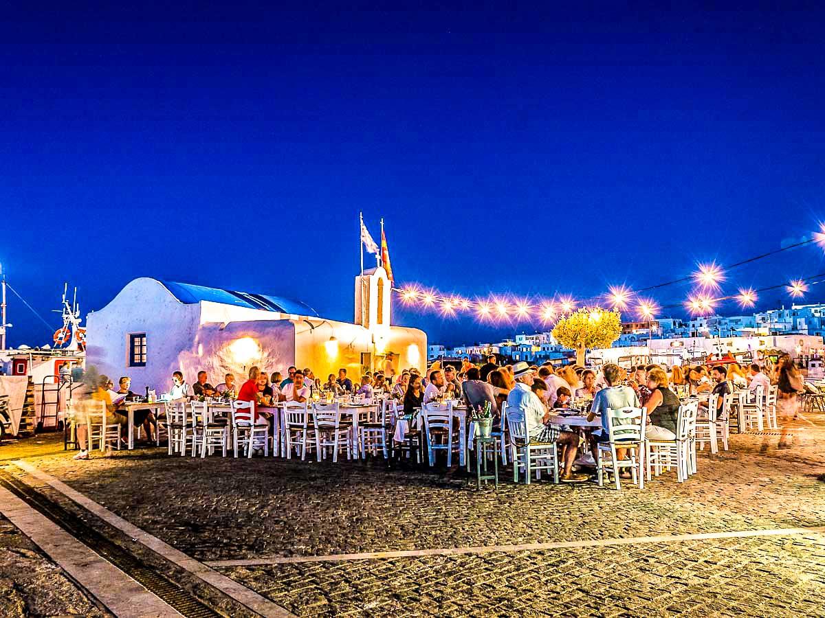 Dinner at beach on Greek Islands Multisport tour in Paros, Naxos and Santorini