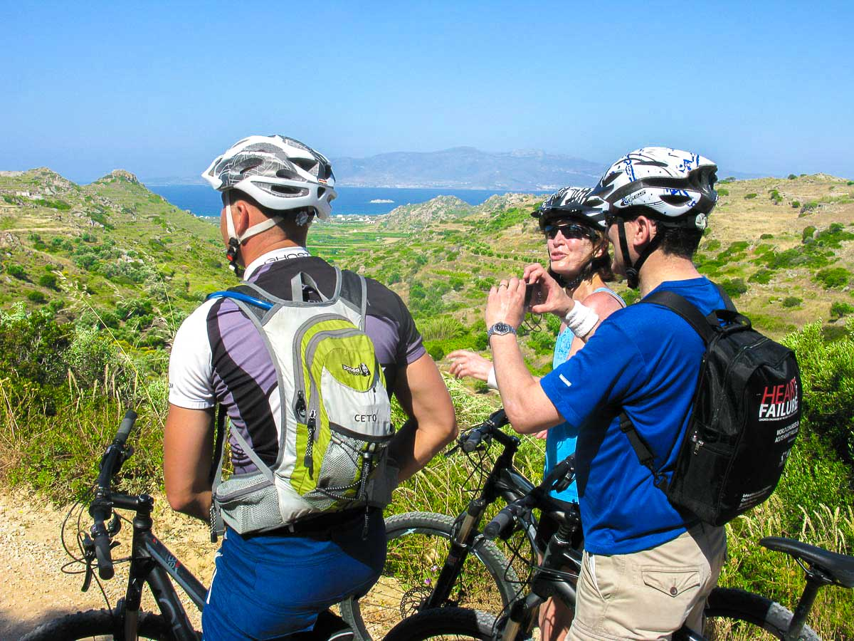 Bikers and beautiful view on Greek Islands Multisport tour in Paros, Naxos and Santorini