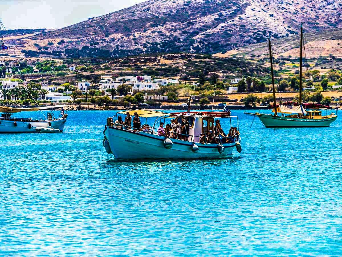 Boat transfer on Greek Islands Multisport tour in Paros, Naxos and Santorini