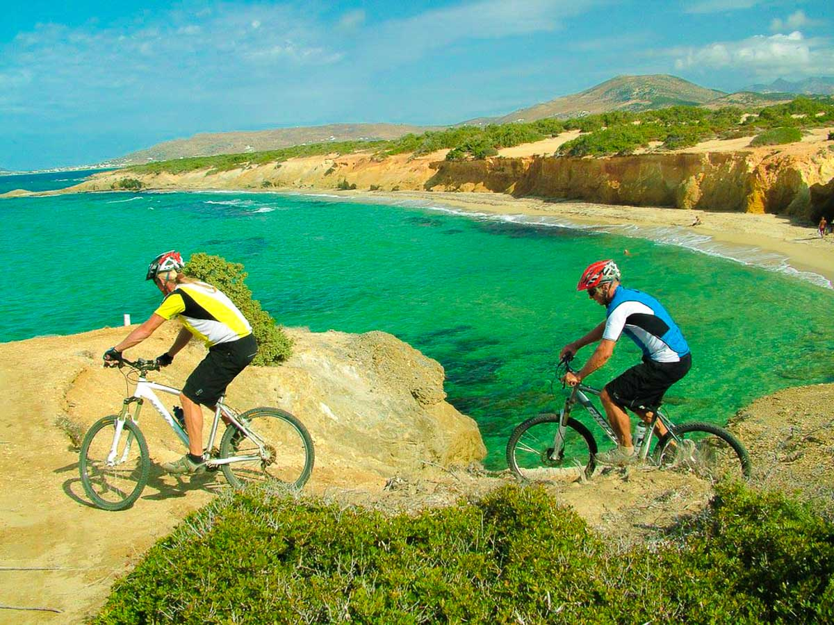 Cycling along the coast on Greek Islands Multisport tour in Paros, Naxos and Santorini