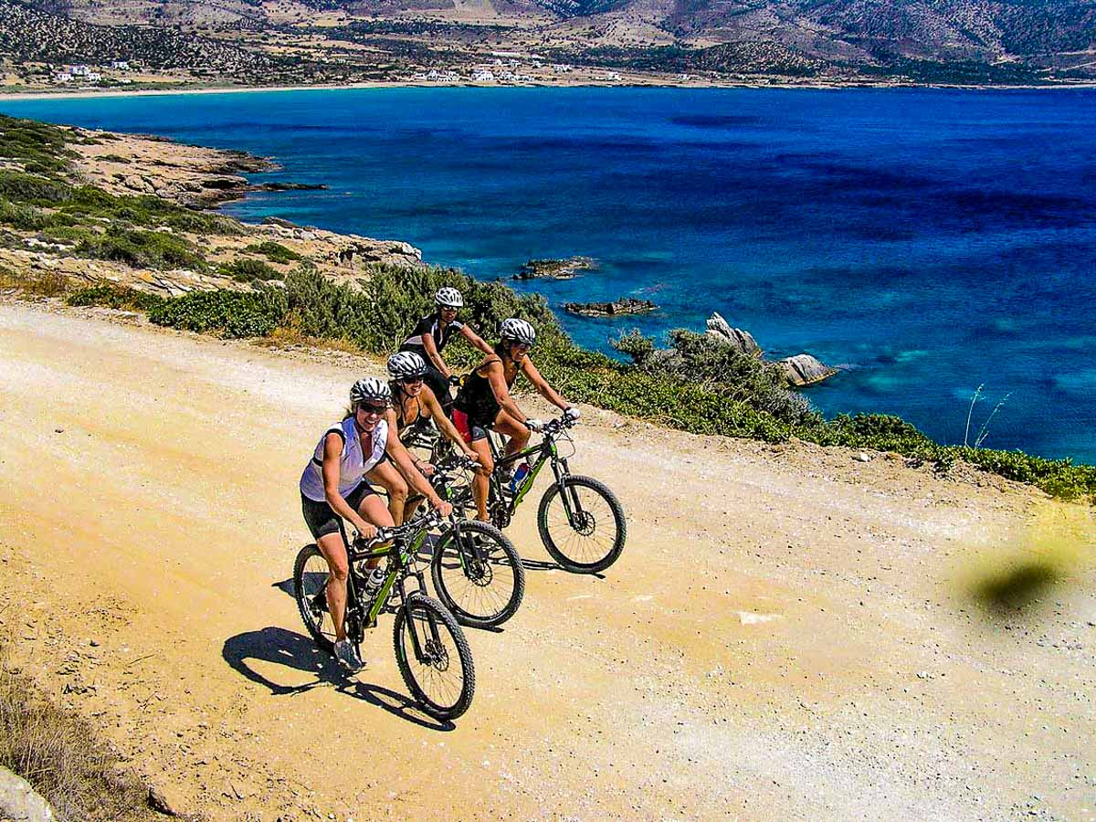 Group of cyclists on Greek Islands Multisport tour in Paros, Naxos and Santorini