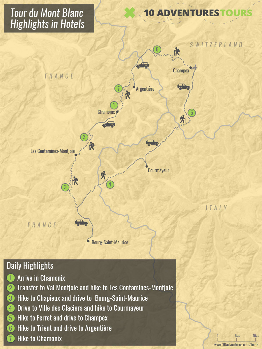 Map of Tour du Mont Blanc trek in Alps (France, Switzerland, Italy)
