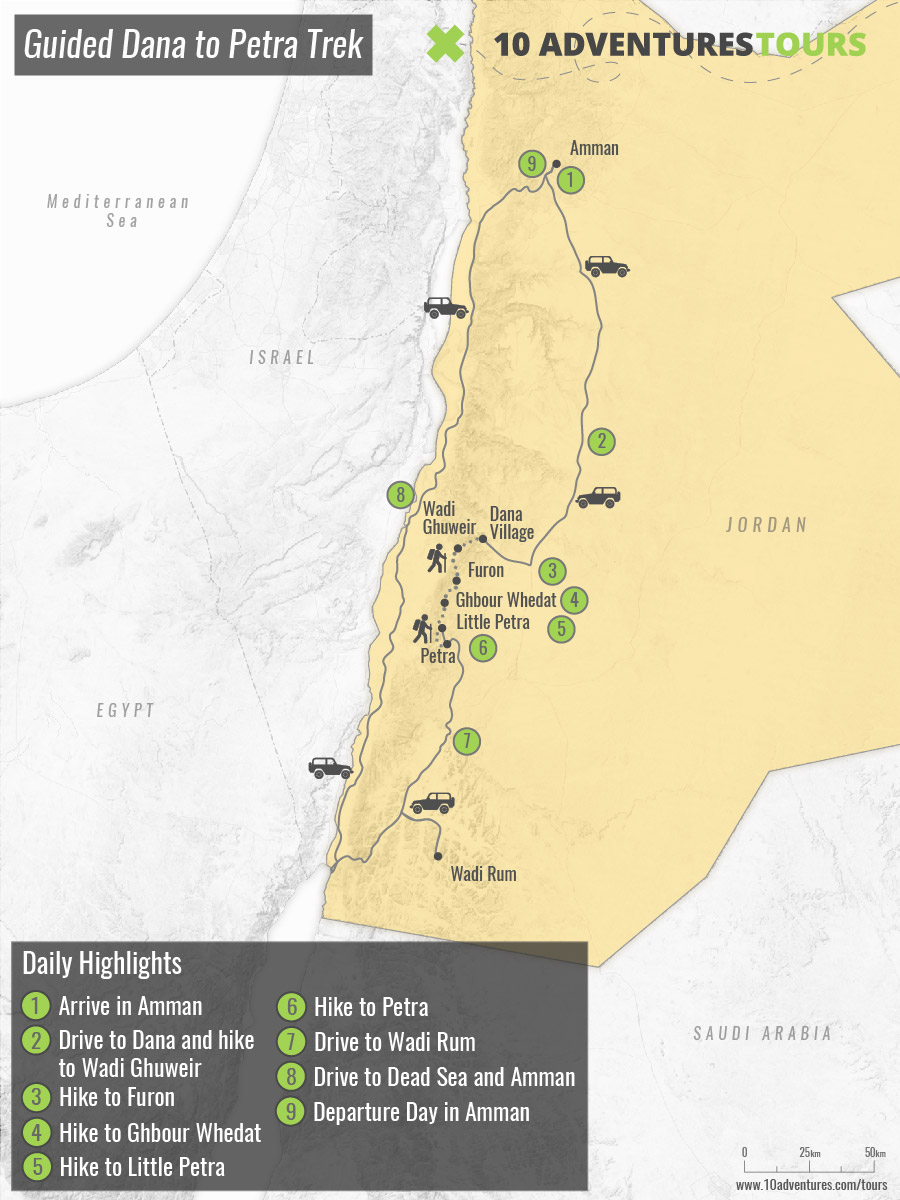 Map of Guided Dana to Petra Trek in Jordan