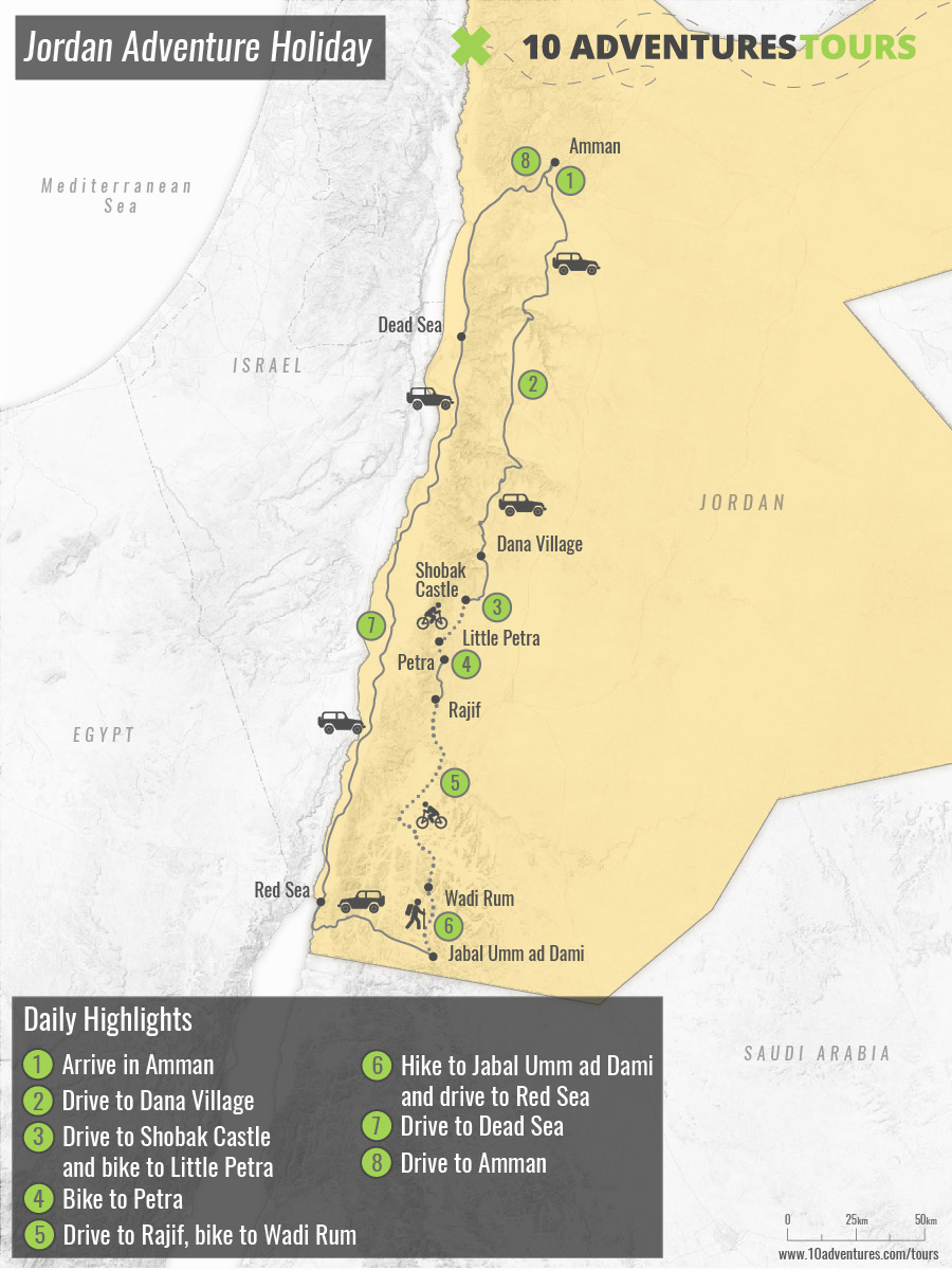 Map of Jordan Adventure Holiday, including biking and trekking
