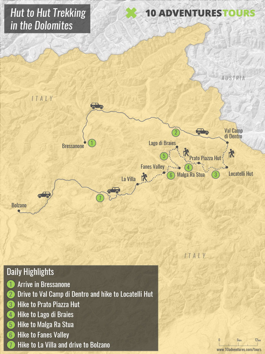 Map of self-guided Hut to Hut Trekking Tour in Italy