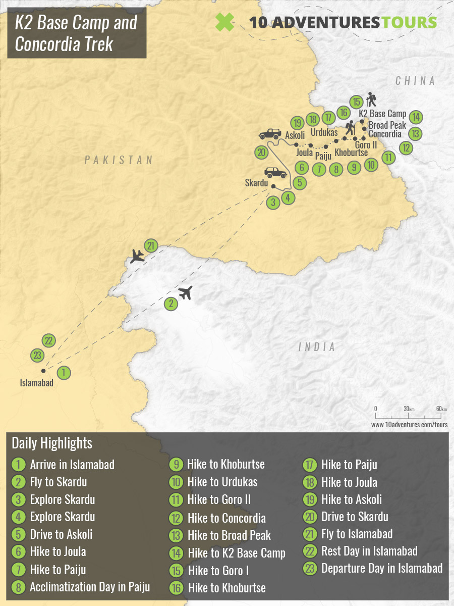 Map of K2 Base Camp and Concordia Trek from Islamabad