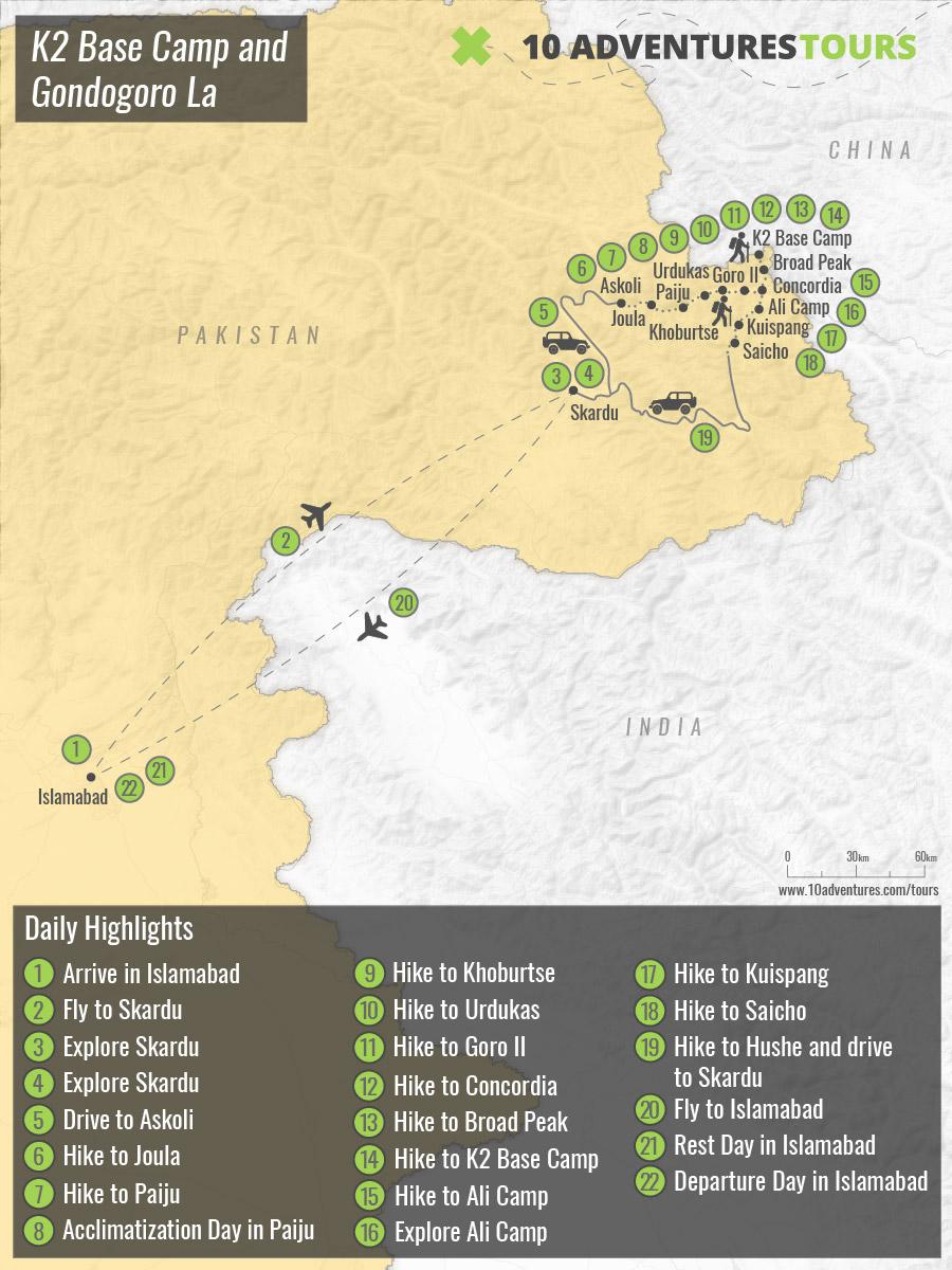 Map of guided K2 Base Camp and Gondogoro La Trek in Himalayas, Pakistan