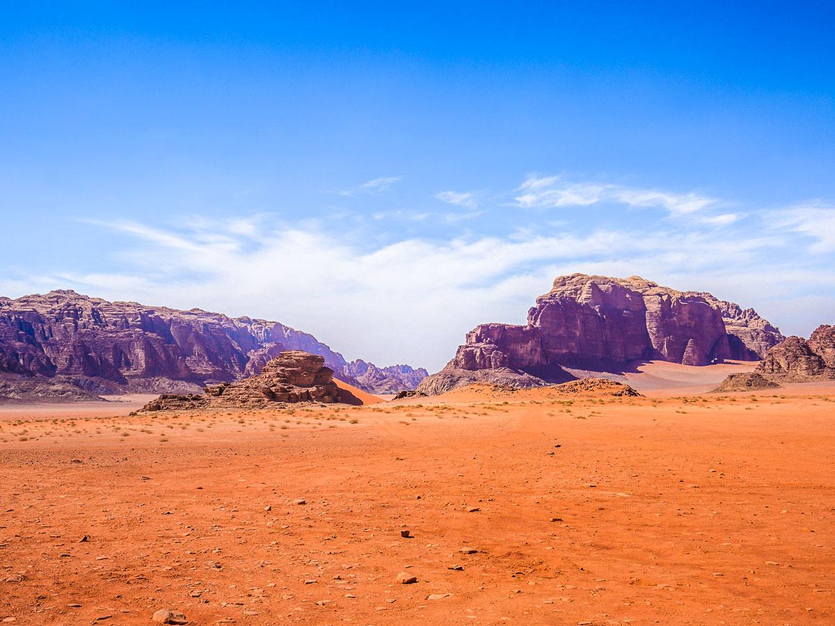 Desert views on guided group trek from Dana to Petra in Jordan