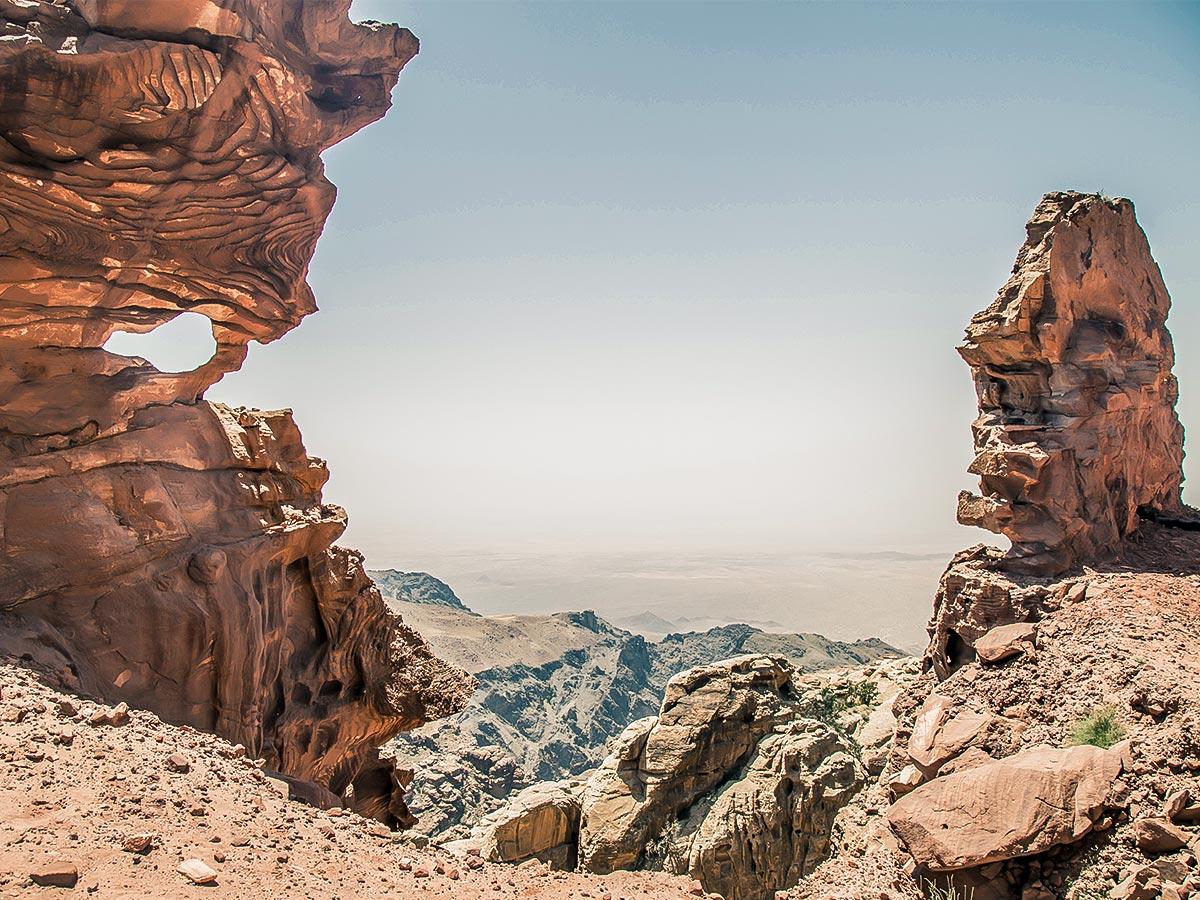Rock formations along the trail of Dana to Petra Trekking Tour in Jordan
