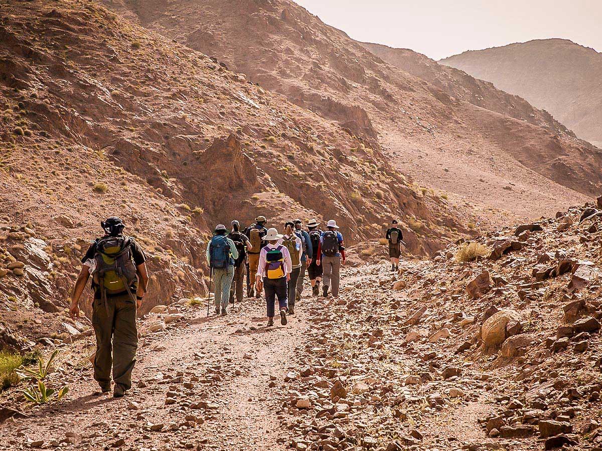 Group hiking on a trail of Dana to Petra Trekking Tour in Jordan