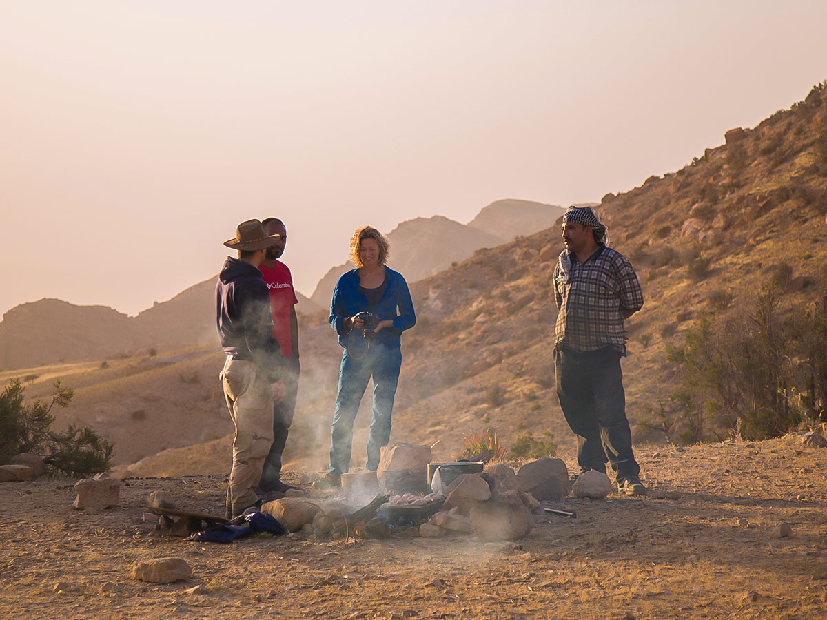 Hikers resting on Dana to Petra Trekking Tour in Jordan