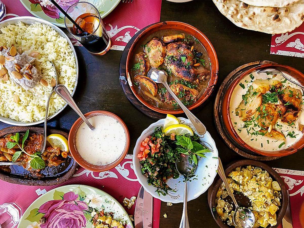 Jordanian cuisine on Dana to Petra Trekking Tour in Jordan