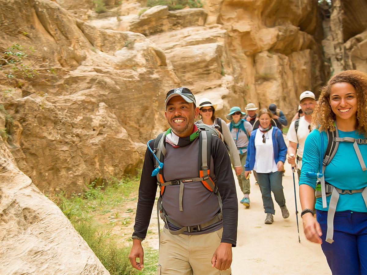 Happy hikers on Dana to Petra Trekking Tour in Jordan