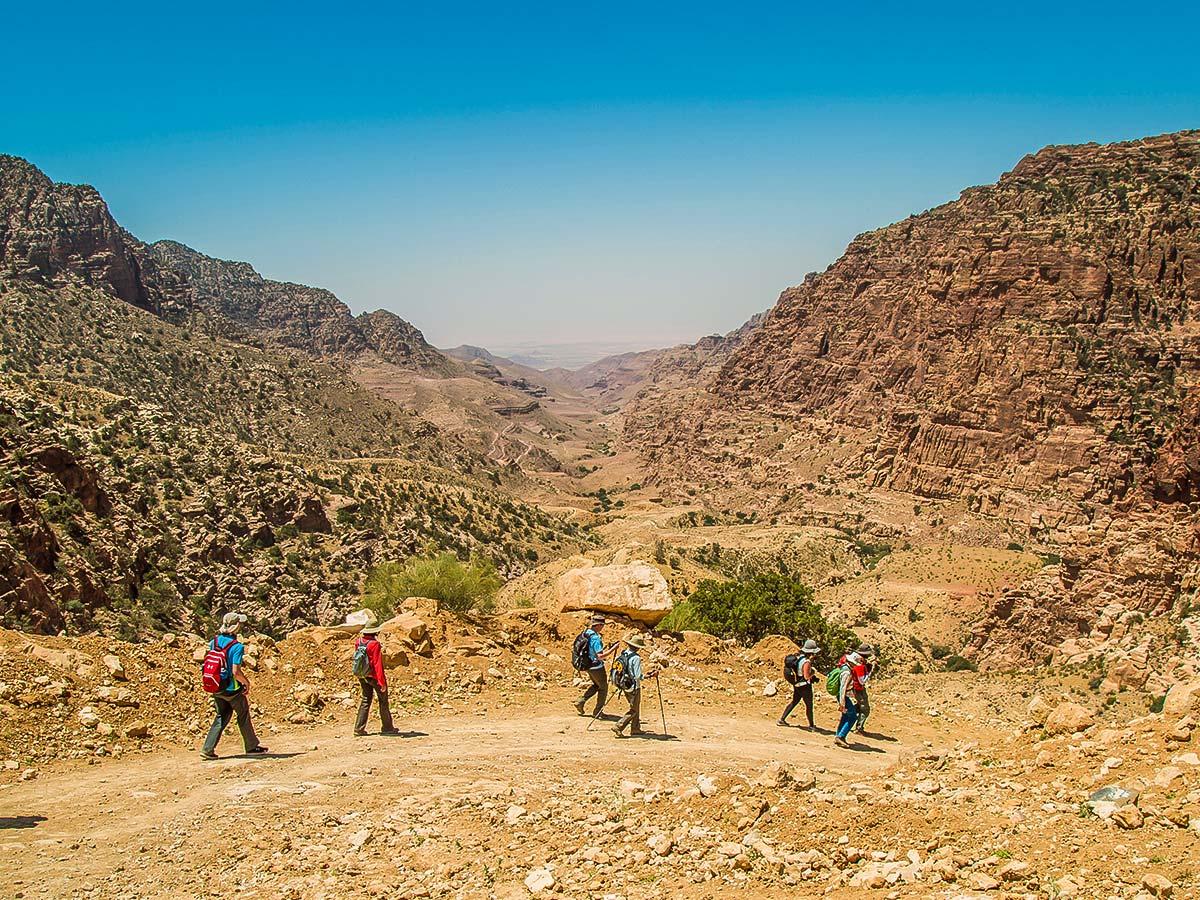 Group trekking on Dana to Petra Trekking Tour in Jordan