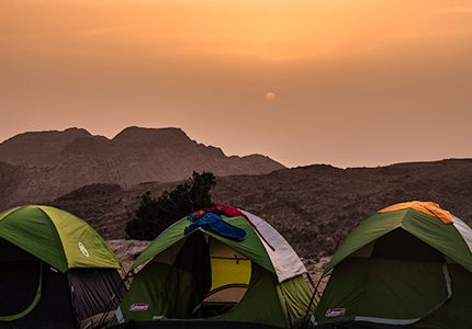 Campsite on guided group trek from Dana to Petra in Jordan
