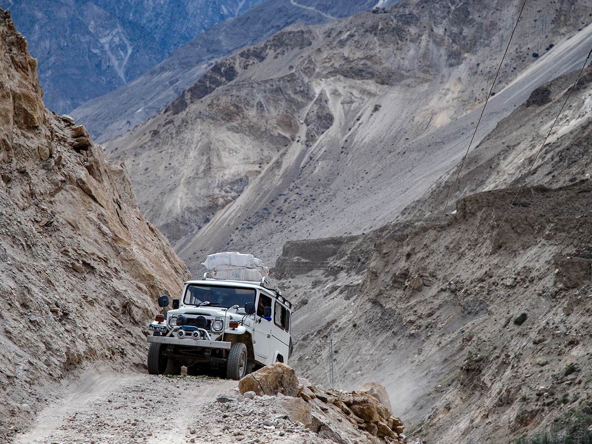 Jeep trip on the road to Askoli Village on K2 Base Camp and Concordia Trek in Pakistan