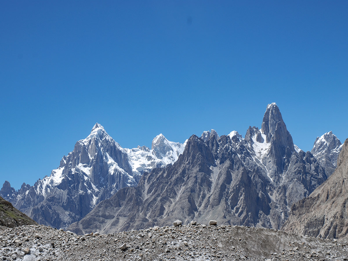 Great view of Paiju Peak and Uli Biaho Tower on K2 Base Camp and Concordia Trek in Pakistan
