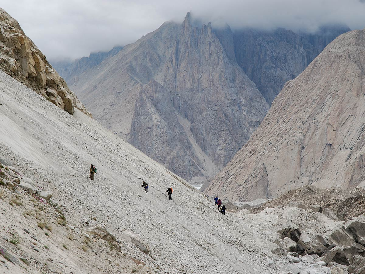 Trekking along Baltoro Glacier on K2 Base Camp and Concordia Trek in Pakistan