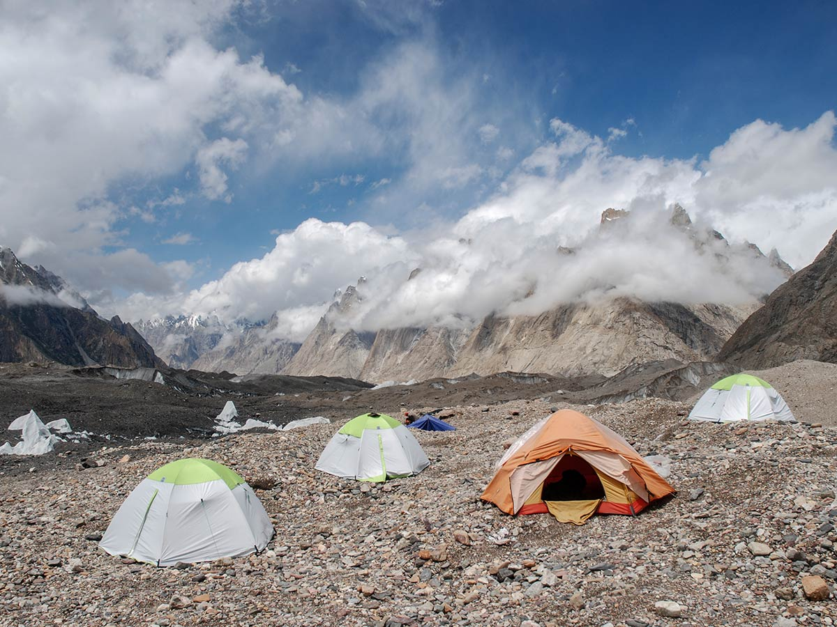Camping near Baltoro Glacier on K2 Base Camp and Concordia Trek in Pakistan