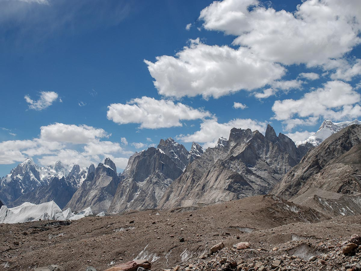 Jagged peaks of Baltoro Muztagh on K2 Base Camp and Concordia Trek in Pakistan