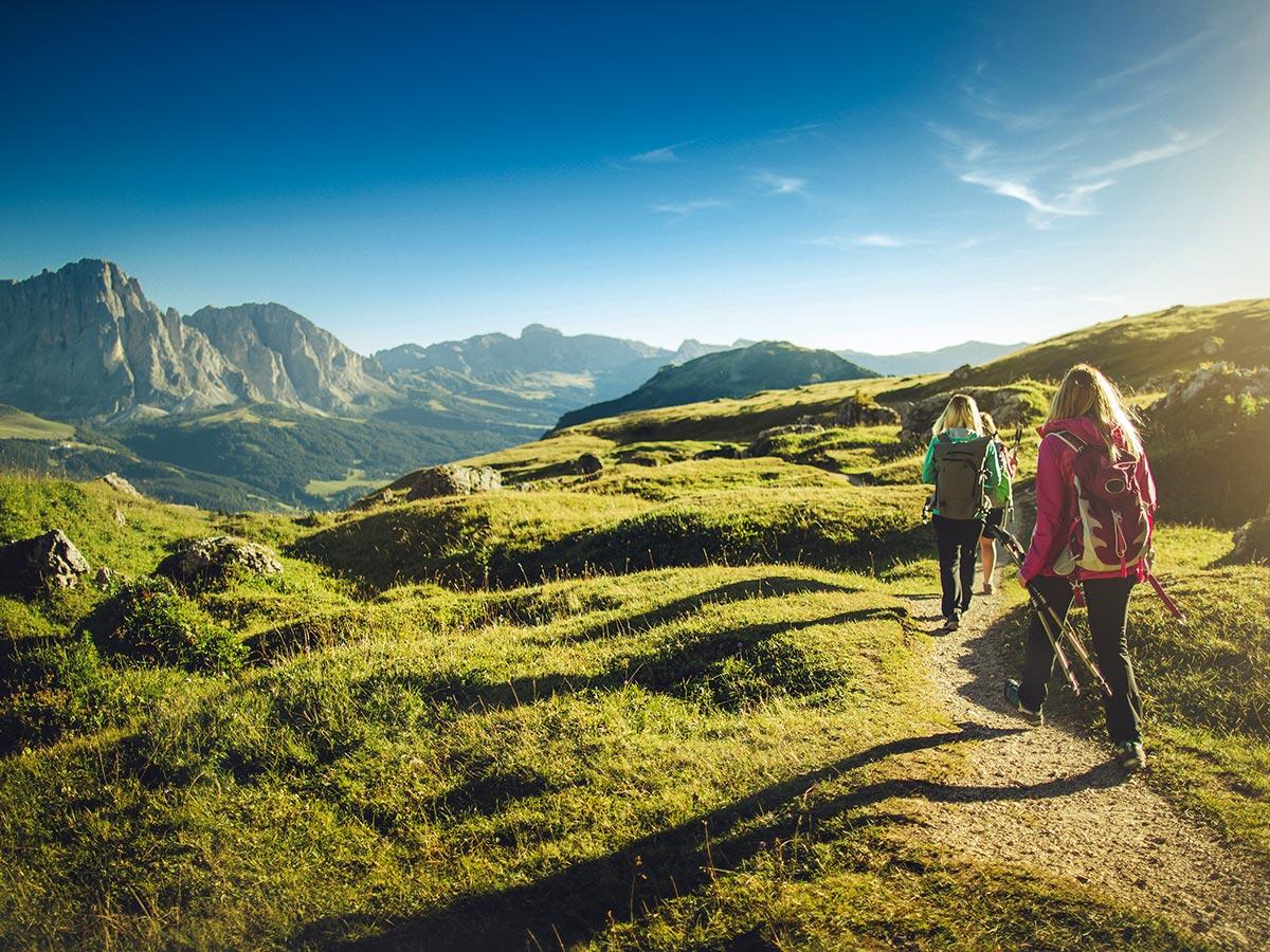 Women hiking on Dolomites Haute Route Trek in Italy