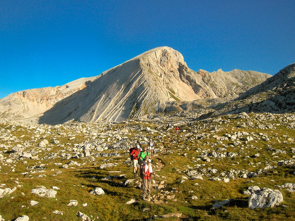 Group of hikers on Dolomites Haute Route Trek in Italy