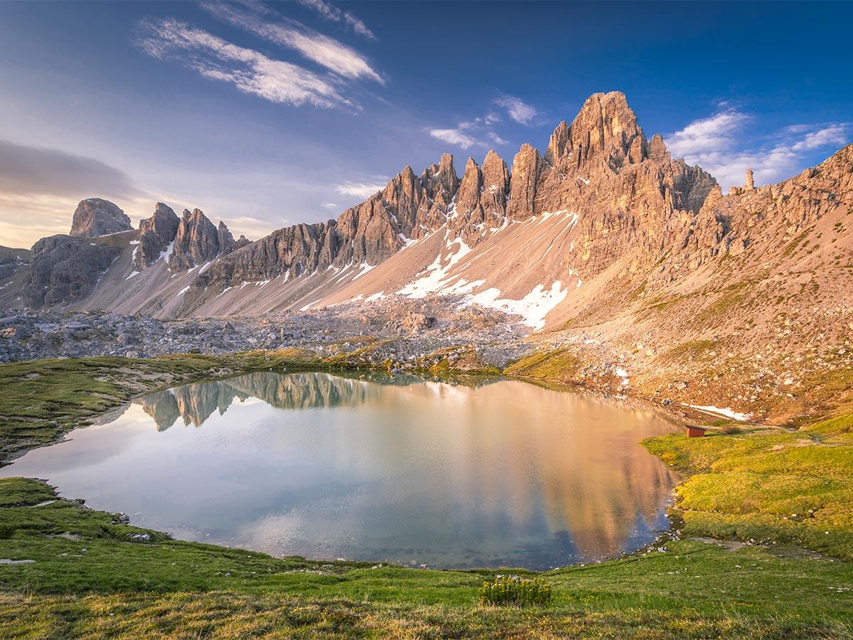 Beautiful mountain lake on Dolomites Haute Route Trek in Italy