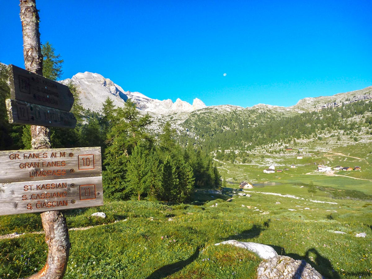 Signpost along the trail on Dolomites Haute Route Trek in Italy