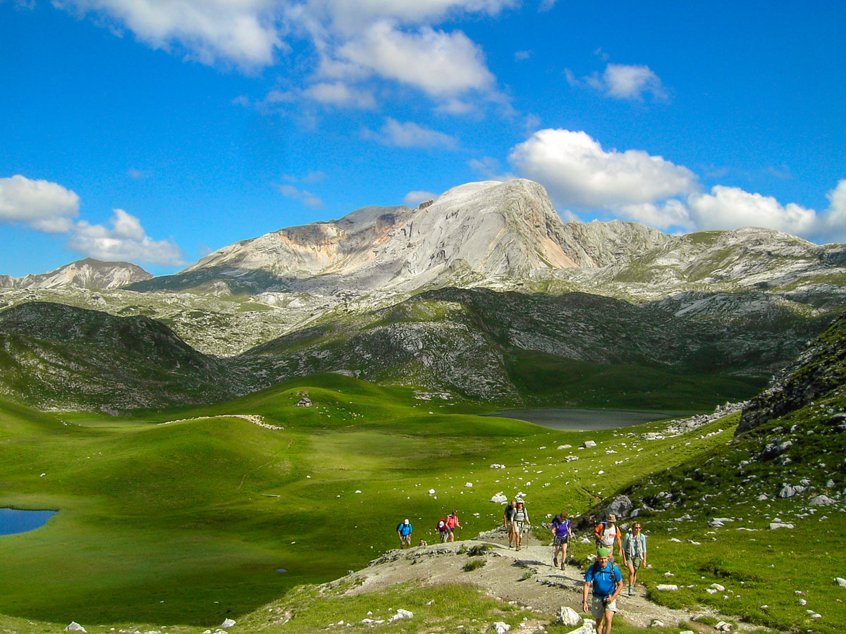 Group of hikes on Dolomites Haute Route Trek in Italy