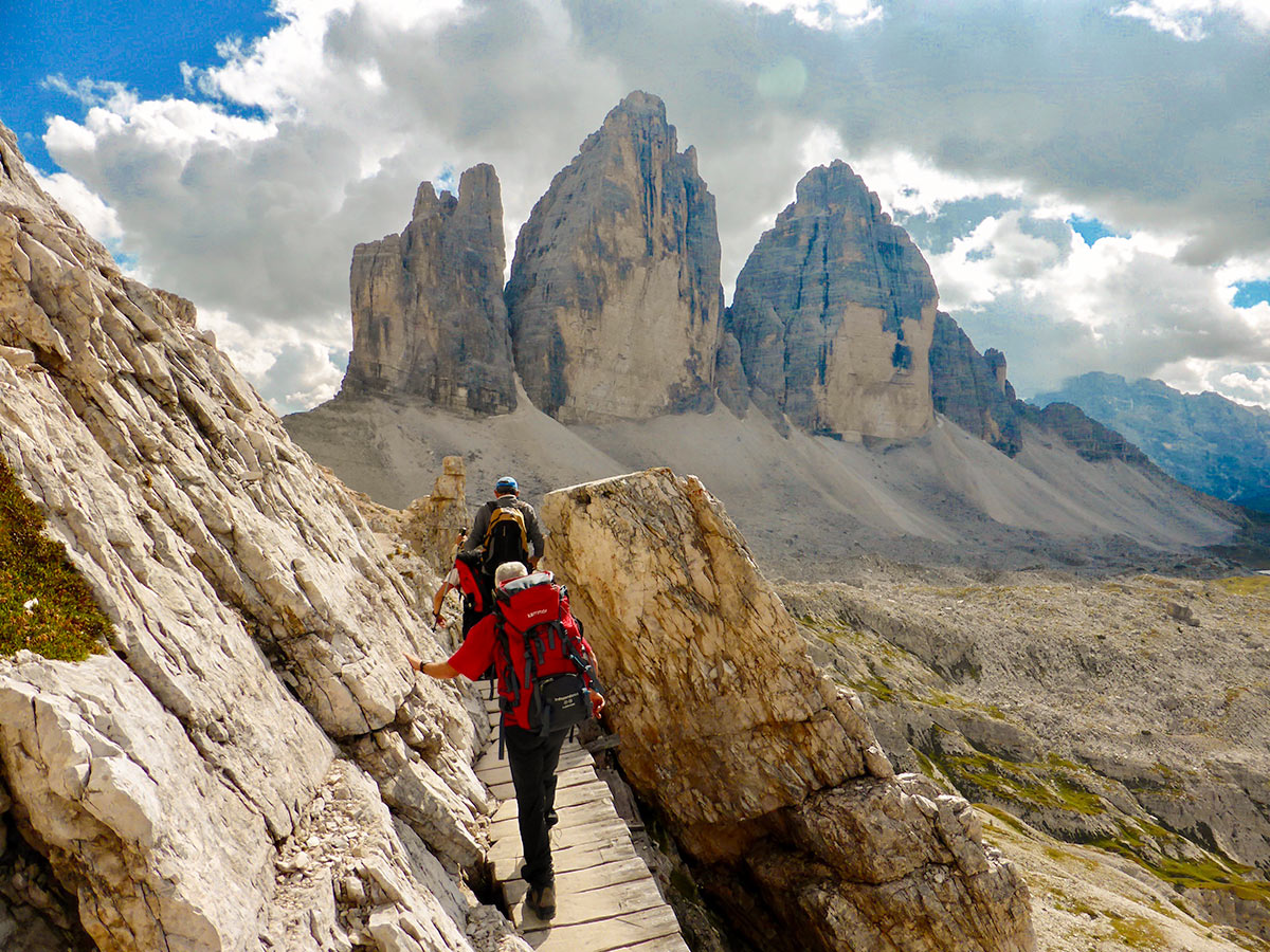 Group trekking on Dolomites Haute Route Trek in Italy