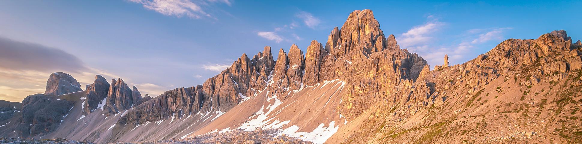 Beautiful panoramic views from Hut to Hut Trekking Tour in the Dolomites