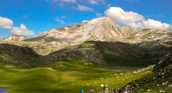 Group of hikers on self-guided trekking tour in Dolomites, Italy