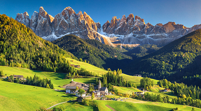 Mountain village on self-guided trekking tour in Dolomites, Italy
