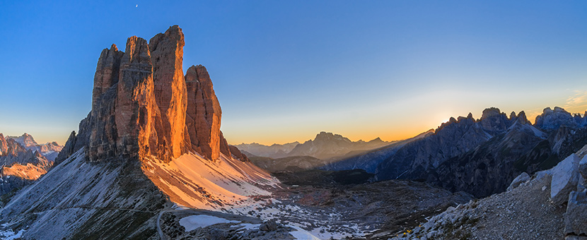 Beautiful rock formations on self-guided trekking tour in Dolomites, Italy