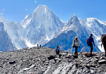 Hikers trekking on guided trek to K2 Base Camp