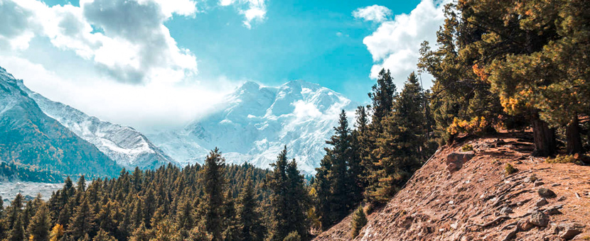 Mountain views on guided trekking tour to Fairy Meadows in Pakistan