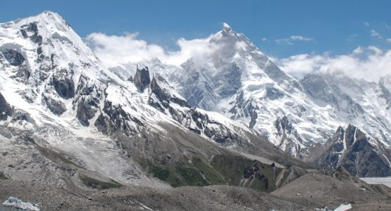 Panoramic view from guided trekking tour to K2 Base Camp in Pakistan