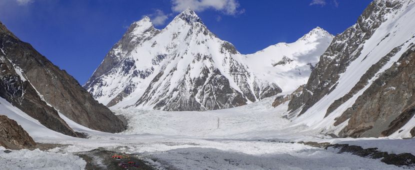 Mountain peak views on guided trekking tour to K2 Base Camp in Pakistan
