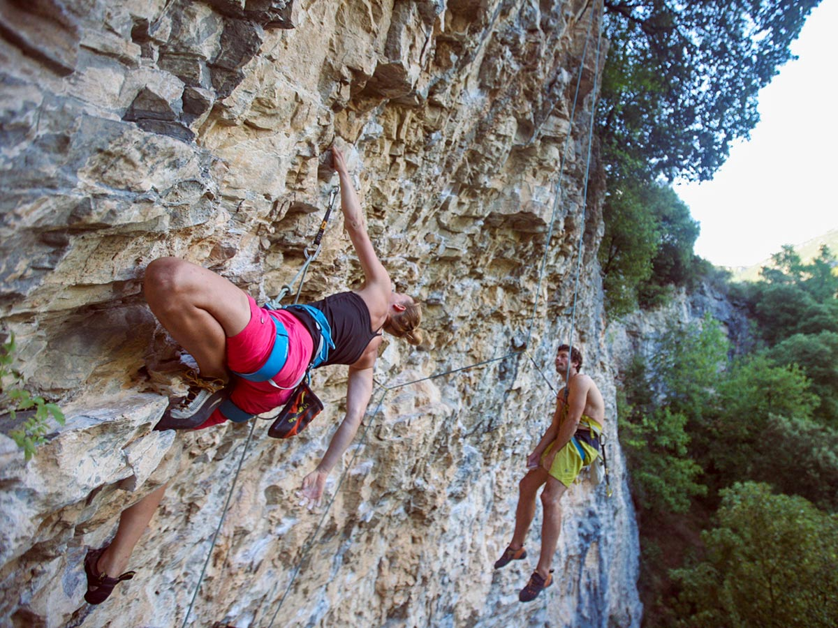 Rock climbers on climbing camp in Finale Ligure, Italy