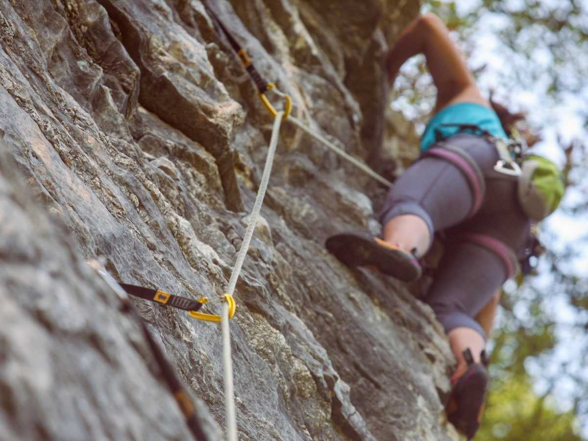 Climber on climbing camp in Italian Riviera