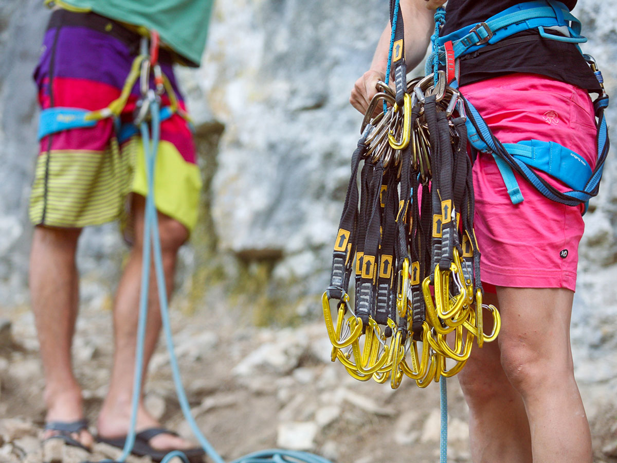 Climbing gear on rock climbing tour in Italy