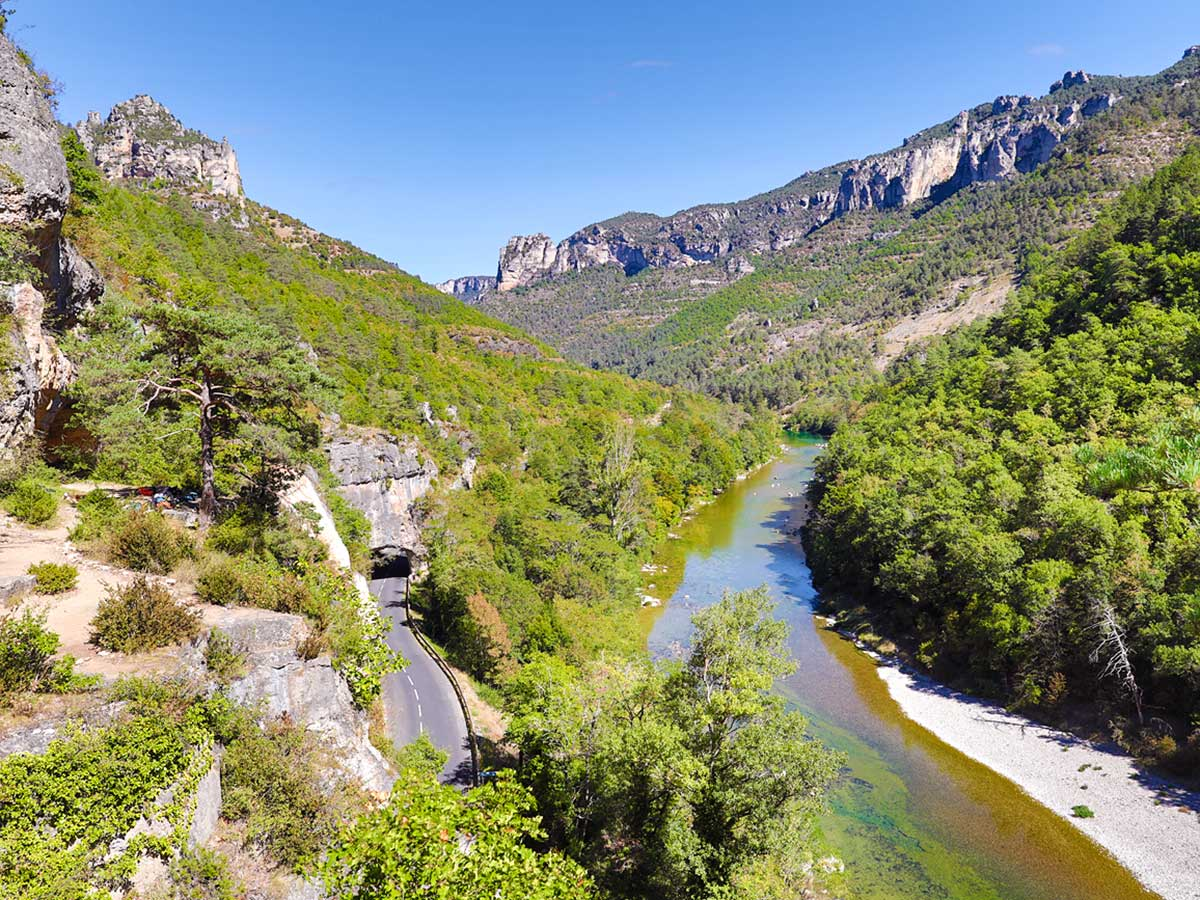 Beautiful river and the valley on climbing camp at Gorges du Tarn in France