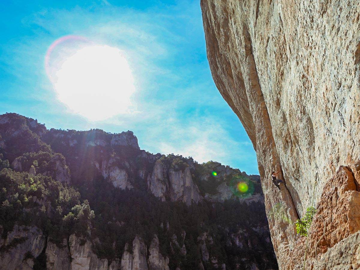 Great valley views on climbing camp at Gorges du Tarn in France