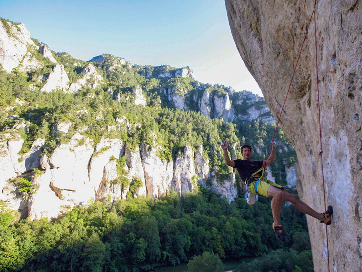 Climber and views on climbing camp at Gorges du Tarn in France