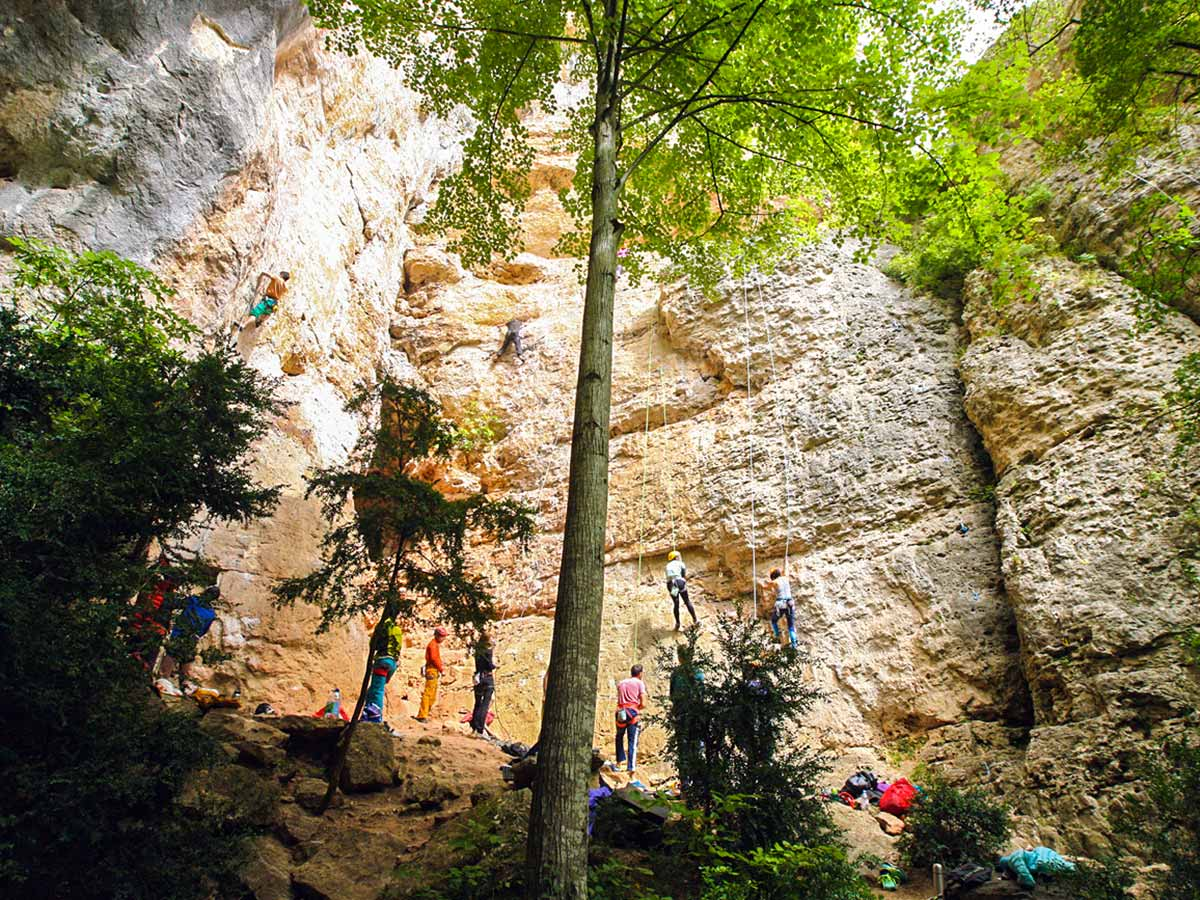 Climbers going up on climbing camp at Gorges du Tarn in France